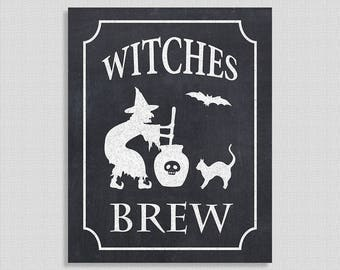 Witches Brew Halloween Party Sign, Chalkboard Party Signage, Halloween Party, Witch Hat, Drink Sign, INSTANT PRINTABLE