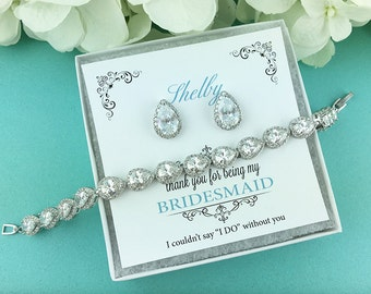 Bridesmaid Bracelet Gift Set, 4 5 6 7 8, Personalized Bridesmaids Gift, Bridesmaid Earrings Studs, Heather Bridesmaids Jewelry Gift Set