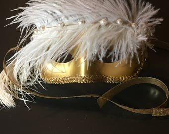 Gold Mask with White Feather and Pearls