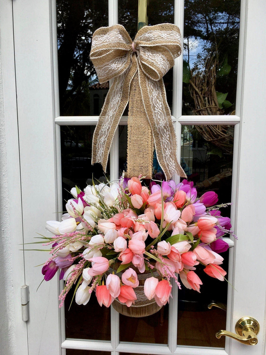Easter Wreath, Easter Flower Wreath, Flower Wreath, Front Door Wreath,  Easter Flower Basket, Tulip Wreath, Tulip Flower Basket, Tulip Wreath