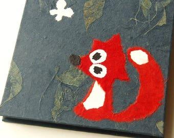 "Accordion Photo Album ""Fox"" Mulberry Paper darkblue"