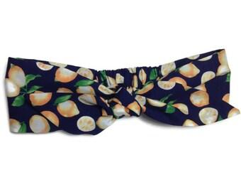 headband tie headwrap, turban tie headband lemons, hair accessory, headband, made in france