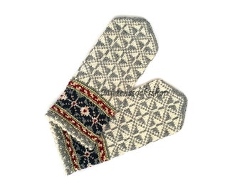 White Gray Mittens Hand Knitted Wool Mittens Hand Knitted White Gray Wool Gloves Winter Mittens Latvian Mittens with Pattern Winter Gloves