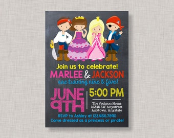 Princess and Pirate Invitation, Princess and Pirate Party Invitation, Princess and Pirate Party, Princess and Pirate Birthday Invitation