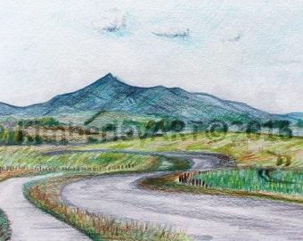 Bennachie Colour Drawing Print, Scottish Mountain Drawing Print, Colour Pencil Drawing, Colour Pencil Print, Scottish Scenic Print