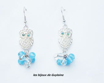 OWL earrings chalcedony and rock crystal gemstones