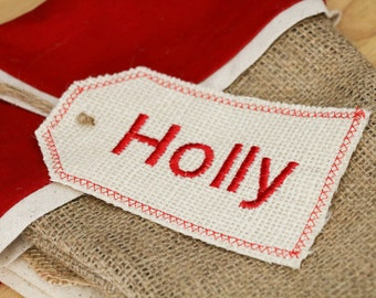 Personalized Embroidered Ivory Burlap Stocking Tag, Reusable Gift Tag