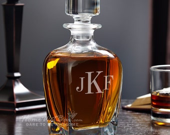 Draper Classic Monogram Whiskey Decanter - Unique Personalized Whiskey Decanter - Great Gifts for Men Brother Dad and Boyfriend