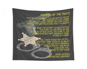 Personalized Sheriff Wall Tapestry, Sheriff Gift, Personalized Sheriff Gift, Sheriff Banner, Sheriff Gift, Personalized Sheriff Wall Decor