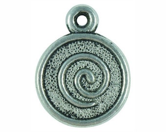 5 Silver Spiral Charm 25x20mm by TIJC SP0259