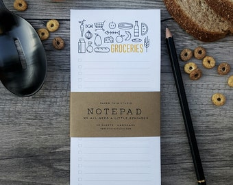 Modern Grocery List Notepad - Handmade