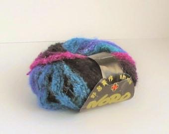 Noro Yarn, Niji 261, blue, black, purple, turquoise, discontinued yarn, boucle, new destash