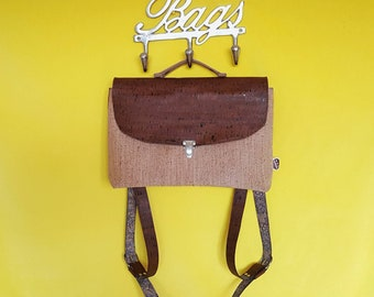 ROSA satchel backpack corkbag with a fun lining