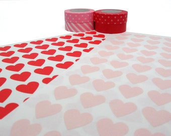 """Red and Pink Heart Stickers, Envelope Seals - Set of 216, 0.75"""" x 0.75"""""""