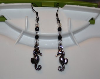 Sparkly Black & White Dragonfly Earrings