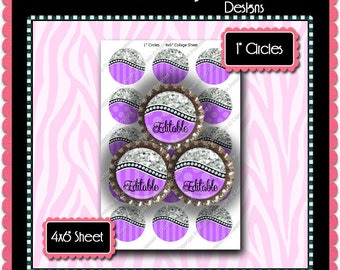 Editable Bottle Cap Images - Instant Download JPG & PDF Formats - Purple Glitter Curve (ET154) Digital Bottlecap Collage Sheet