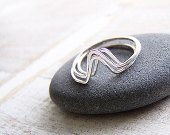 Stack Ring Set, Sterling Stack Rings, Chevron Stack Rings, Midi Ring Set, Triangle Ring, Pointed Rings