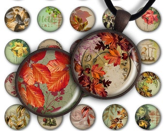 75% OFF SALE Wonderful autumn - Digital Collage Sheet PC073 1 inch round 1 inch circle Pendant Printable 25mm autumn jewelry making
