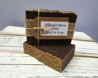 Pine Tar Soap: Handmade Soap, Pine Tar, Relieves Eczema and Psoriasis, Handcrafted, Kid Friendly-NO SCENT