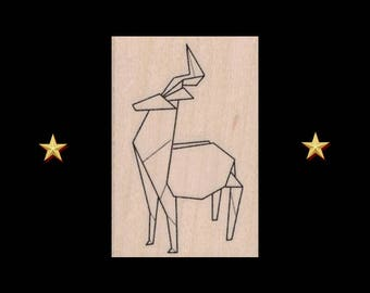 Origami Deer Rubber Stamp, Origami Animal, Origami Deer, Holiday Stamp, Christmas, Winter Stamp, Origami Gift, Deer Rubber Stamp, Deer Stamp