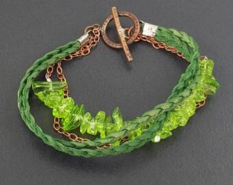 Leather Wrap Bracelet, 5 strand bracelet, multi strand, leather bracelet, green leather, boho, bohemian, peridot bracelet,copper bracelet