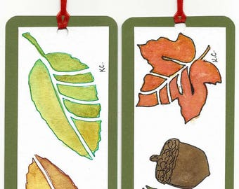 Two Original Hand Painted Water Color Book Marks - Book Markers - Autumn Leaves - Not a Print