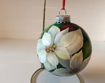 POINSETTIAS, RIBBONS and mistletoe Glass Christmas Ball  - Floral Xmas ornament - victorian ornament