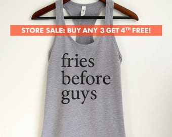 Fries Before Guys Tank Top, Ladies Workout, Yoga Tank Top, Funny Gym Tank, Gift For Girlfriend, Daughter