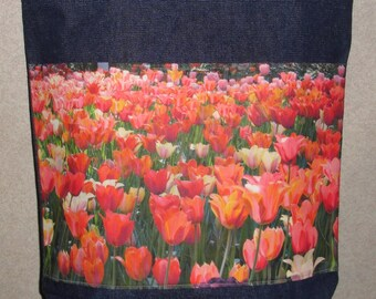 New Handmade Bright Sea of Tulips Flowers Original Photograph Photo Large Denim Tote Bag