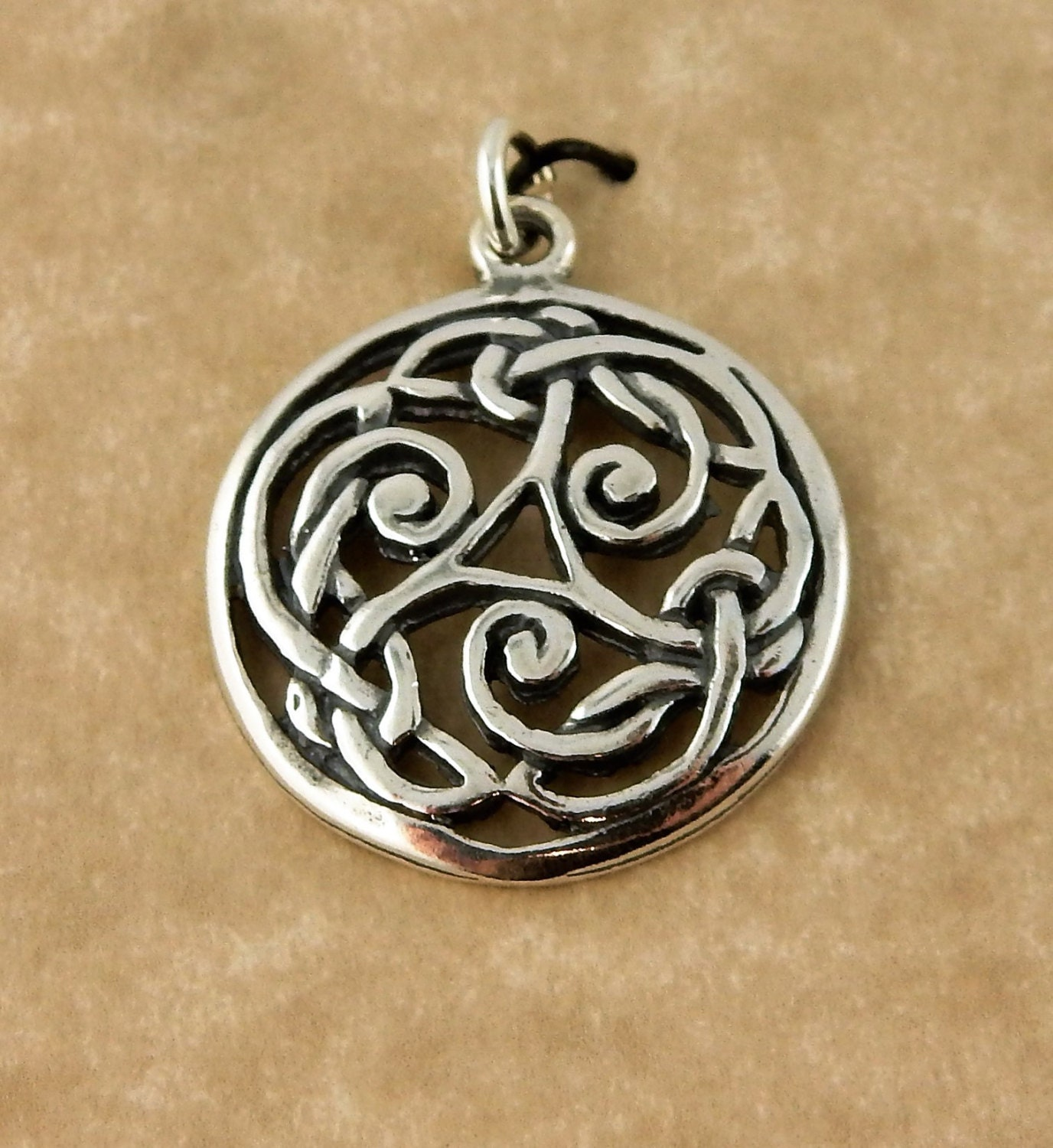 celtic triskele wooden rosewood necklace silver product pendant