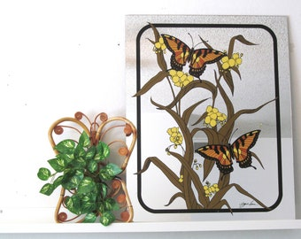 vintage painted mirror butterfly flowers and foliage