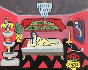 """Oil Painting on Canvas """" Woman On Bed """""""