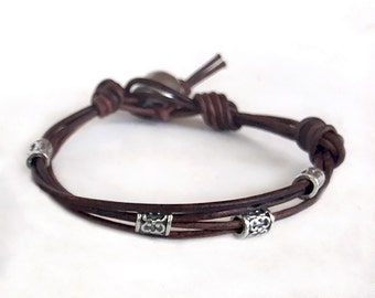 Boho Leather Bracelet - Silver and Leather Bracelet - Gift For Graduate - Summer Bracelet