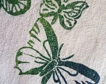 Butterfly Embellished Flour Sack Tea Towel