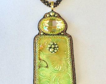 Raku Pendant Necklace - Peridot Green Necklace - Swarovski Necklace - Statement Necklace - Wondrous Strange Jewelry