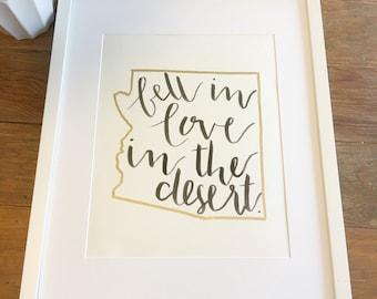 Fell in Love in the Desert Hand Lettered Art