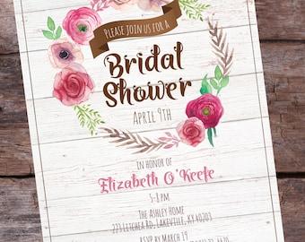Rustic Bridal Shower Invitation - Floral Bridal Shower Invitation - Watercolor Shower Invitation - Watercolor Floral Shower Invitations 10+