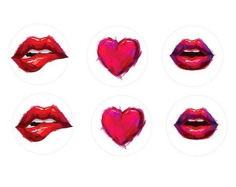 3 pairs of mouth and heart cabochon 16mm