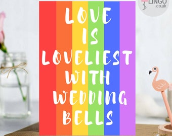 Gay Lesbian LGBT Wedding Or Engagement Greeting Card | A5 | Personalised Message | By Flamingo Lingo (LG11)
