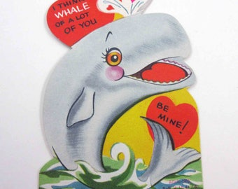 Vintage Children's Novelty Valentine Greeting Card with Cute Whale in Ocean