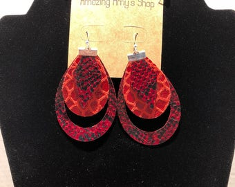 Genuine Leather Earrings *** Free Shipping