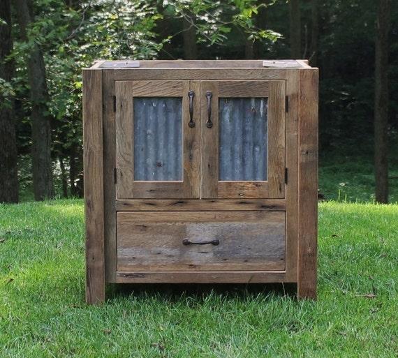 Rustic Vanity 36 Reclaimed Barn Wood Vanity W Tin