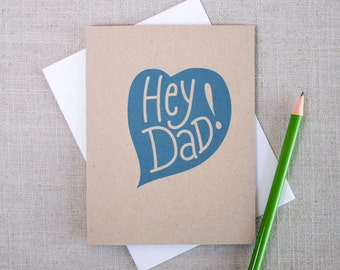 Hey Dad! Funny Father's Day Card / Fun Card for Dad / Modern Father's Day Card / Card for Husband / Blue Heart Card for Dad / Hand Lettered