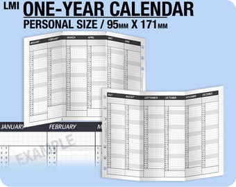 1-year Calendar for 2019, 2020, 2021 / fold into personal size - Inserts Refills Filofax Binder Collins