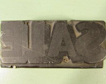 Sale Letterpress Print Block - Vintage Stippled Metal Wood Advertising