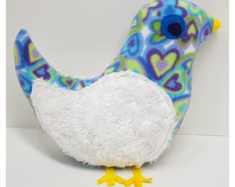 Cuddly Blue, Green and Purple Print Bird with White Fur Wings