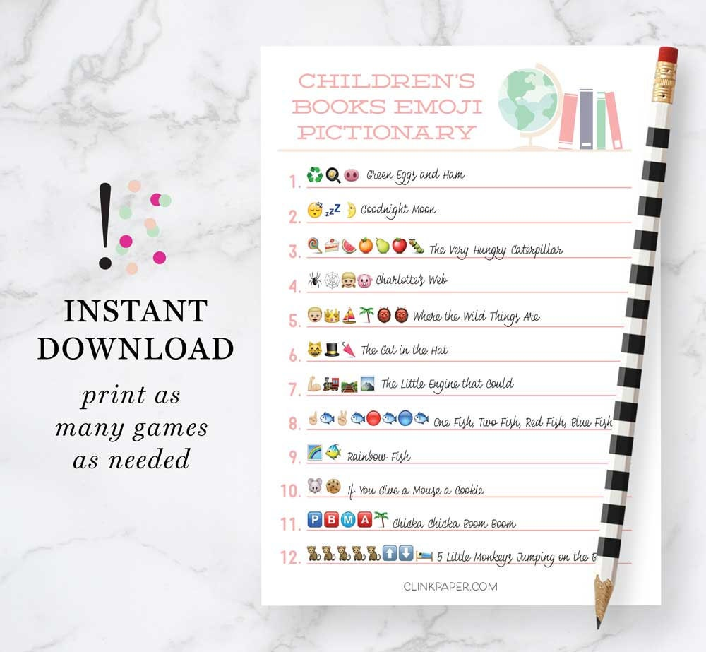 Children\'s Books Emoji Pictionary Baby Shower Game