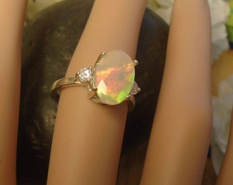 Clear Ethiopian Fire Opal 2 Birthstone Accent Gems Ring,Sterling Silver Ring, 1.70 Cts 11.5 x 9.1 mm AAA+++ Ethiopian Fire Opal