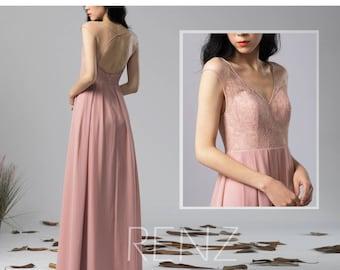 Bridesmaid Dress Dusty Rose Chiffon Dress Wedding Dress,Cap Sleeve Maxi Dress,Lace Illusion Open Back Party Dress,V Neck Evening Dress(H576)