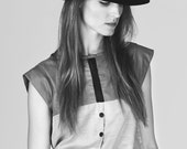 Chemise gris, noir avec dentelle et boutons / / linéaire